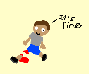 """Guy with chopped off leg says """"It's fine"""""""