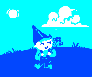 Mischievous gnome steals flowers