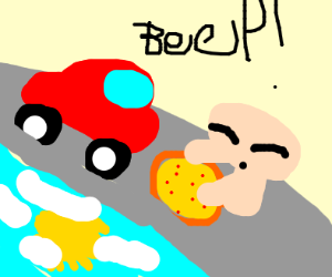 car on road while mushroom watches pizza