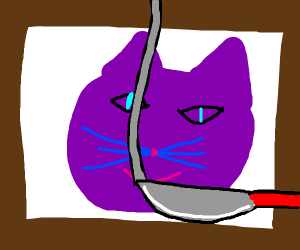 Cutting up a picture of a purple cat