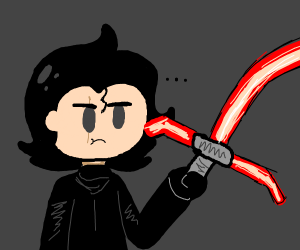 Kylo Ren with a slightly bent lightsaber