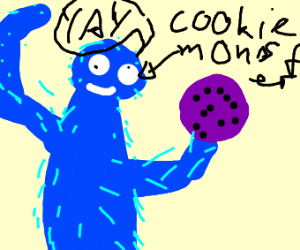 cookie monster is happy at purple cookie