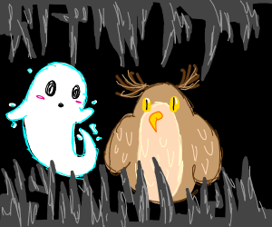 white spirit and owl in a beautiful cave
