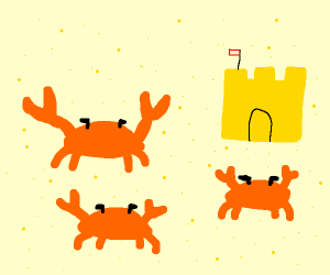 crab rave with sandcastle