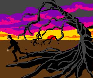 Guy Running From Medusa Trees During Sunset