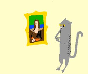 Cat appreciates art