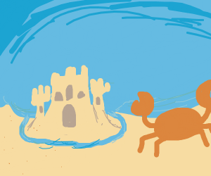 Beach scenery, featuring sandcastle and crab