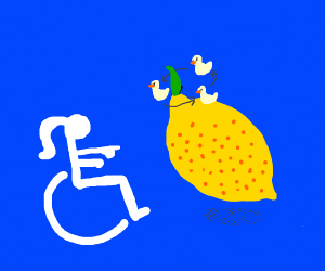 Handicapped Woman points at confused Lemon