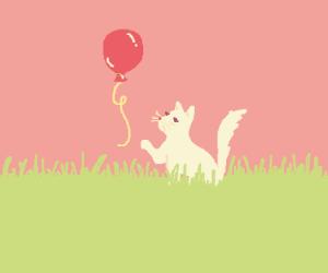 cute kitty reaching for balloon