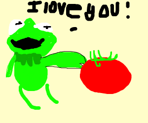kermit caresses a tomato