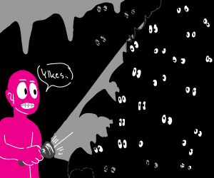 pink man enters cave, is swarmed by bats