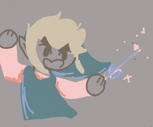 toon link with his cute lil wand