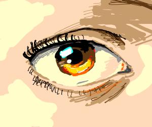 Closeup of a woman's brown eye