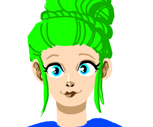 blue eyed person with a green up-do
