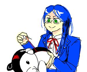 monokuma and a random girl