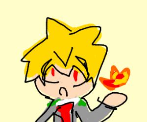 sad blond anime boy drawception