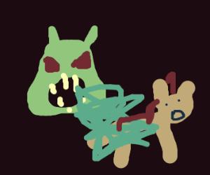 Malicious looking Shrek pukes on Donkey
