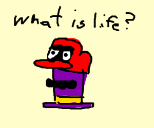A hat wearing a hat thinking What is life?