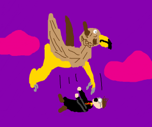 Harry Potter falls off a Griffin.