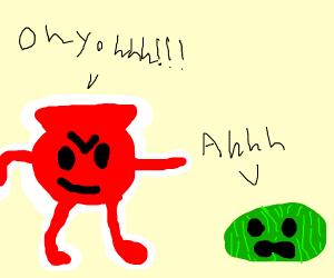 Kool aid man terrorizes watermelon