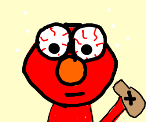 Drunk Elmo with bloodshot eyes