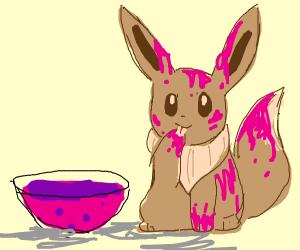 Eevee in pink custard