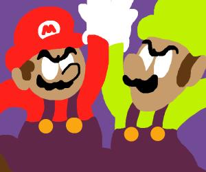 Mario and luigi highfive