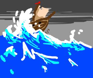 Ship sailing through a storm.