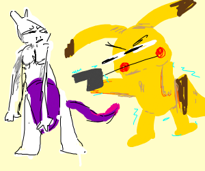 pikachu holding a gun up to mewtwo's face