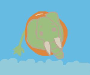 Green elephant on a beach