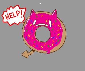 Pink sprinkle donut devil screams, help!