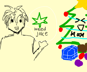 A man makes a weed joke with a x'mas tree