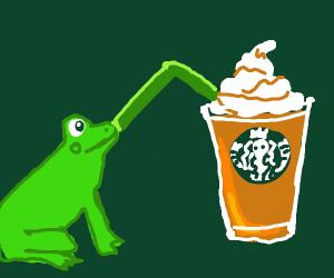 Frog drinks from Starbucks