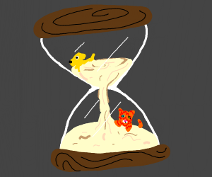glass timer with a cat and dog in it