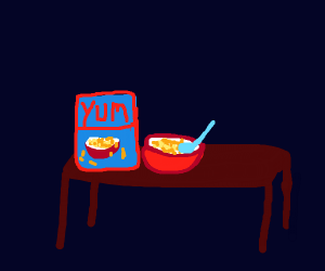 Table with Cereal on it