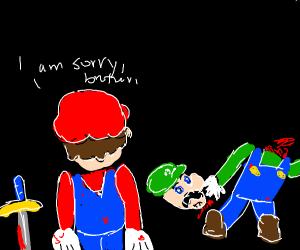 Mario beheads Luigi
