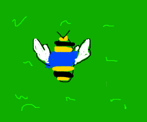 Bee and blue sweater on some grass