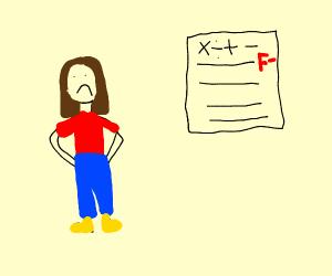 Student failing math exam
