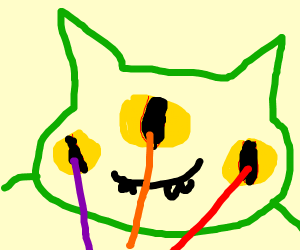 Green cat shooting lasers from it's eyes