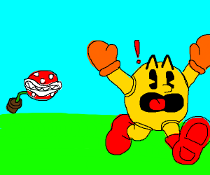 Piranha chases Man. Man scare