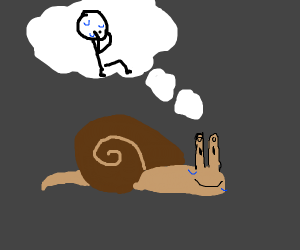 Snail with big eyes has existential crisis.