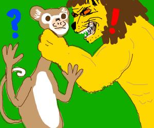 lion questions a monkey