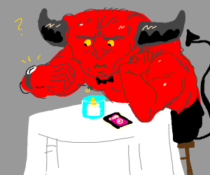 Satan waiting for his date to arrive