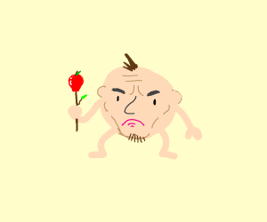 Head with limbs holding a apple on a stick