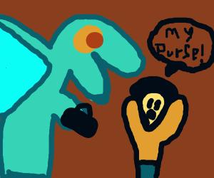weird blue dragon steals purse