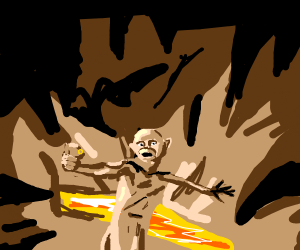 A man being thrown into a pit of lava