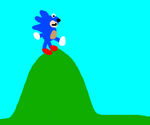 sonic on top of a hill