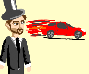 fancy man w/ top hat watches car drive away