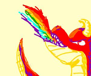 red dragon breathing rainbow fire