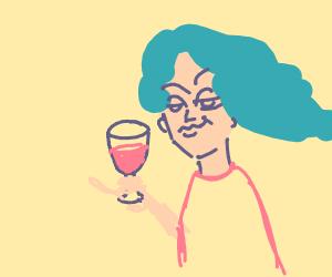 smug anime girl kisses wine glass